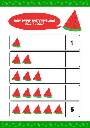Child kids kindergarten homeschooling counting learn worksheet with cute watermelon fruit illustration vector template Ilustracja