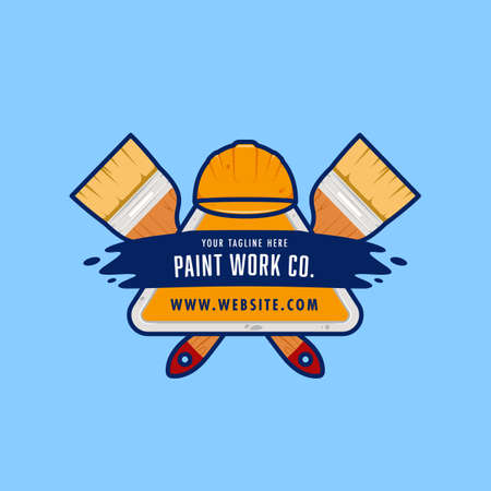 Paint work painting company logo badge emblem with painting brush illustration
