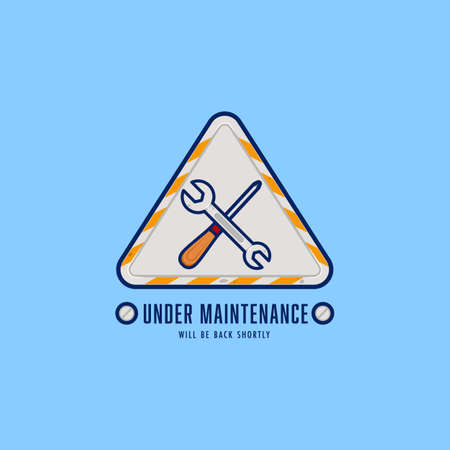 Engineer repairman under maintenance badge logo emblem sign with screwdriver and wrench good for website maintenance or construction Ilustracja