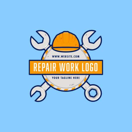 Engineer Technician mechanic Repair Work logo badge emblem with wrench and safety hard helmet illustration Ilustracja