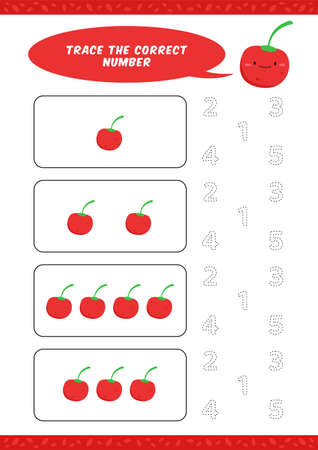 preschool counting learn worksheet tracing writing number activity vector template with cute cherry cartoon illustration for child kids Ilustracja