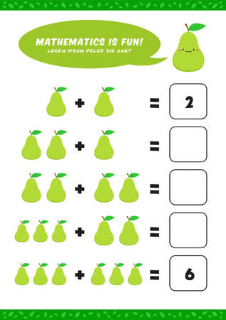 preschool addition mathematics learn worksheet activity template with cute avocado pear illustration for child kids
