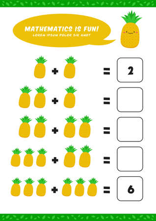 preschool addition mathematics learn worksheet activity template with cute pineapple illustration for child kids