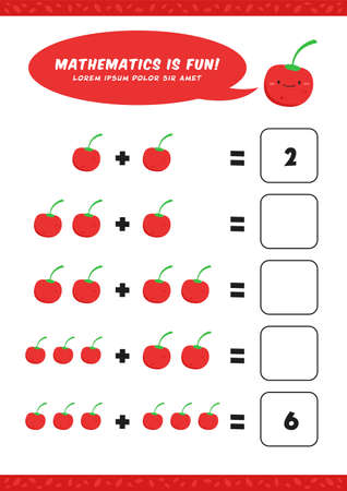 preschool addition mathematics learn worksheet activity template with cute cherry illustration for child kids