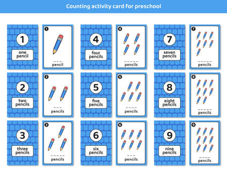 preschool counting activity card with cute pencil illustration set for kid children learning education