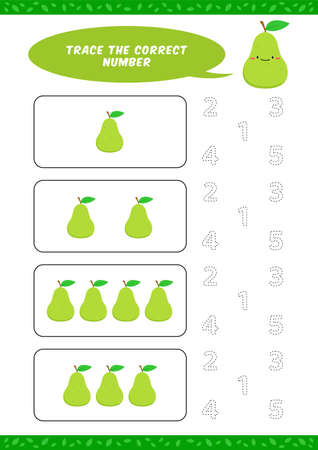 preschool counting learn worksheet tracing writing number activity vector template with cute avocado pear cartoon illustration for child kids