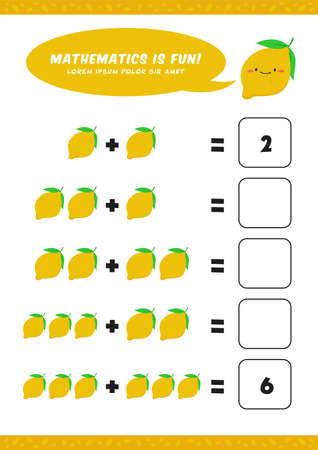 preschool addition mathematics learn worksheet activity template with cute lemon illustration for child kids
