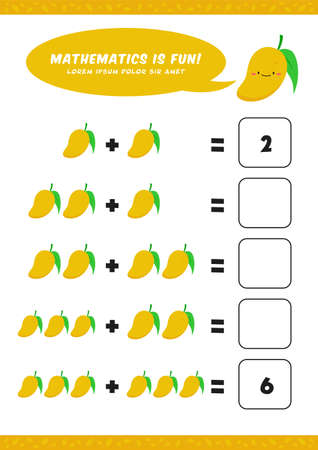 preschool addition mathematics learn worksheet activity template with cute mango illustration for child kids