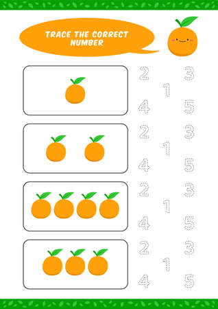 preschool counting learn worksheet tracing writing number activity vector template with cute orange cartoon illustration for child kids Ilustracja