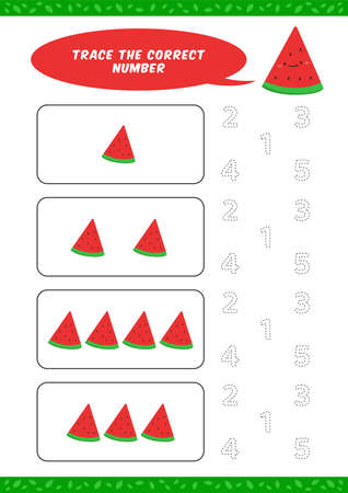 preschool counting learn worksheet tracing writing number activity vector template with cute watermelon cartoon illustration for child kids