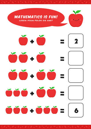 preschool addition mathematics learn worksheet activity template with cute apple illustration for child kids