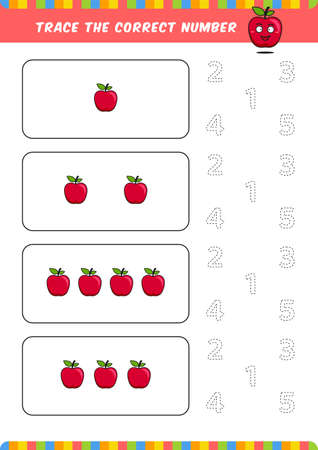 preschool counting learn worksheet tracing writing number activity vector template with cute apple cartoon illustration for child kids