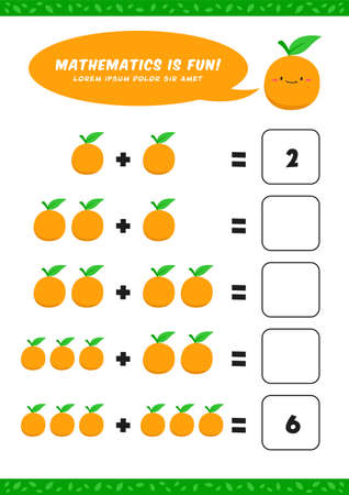 preschool addition mathematics learn worksheet activity template with cute orange illustration for child kids