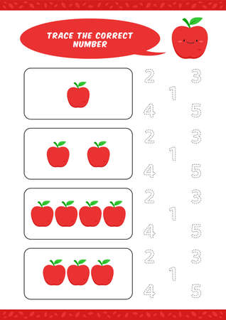 preschool counting learn worksheet tracing writing number activity vector template with cute apple illustration for child kids Ilustracja