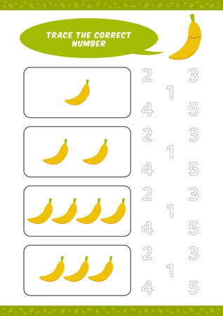 preschool counting learn worksheet tracing writing number activity vector template with cute banana cartoon illustration for child kids