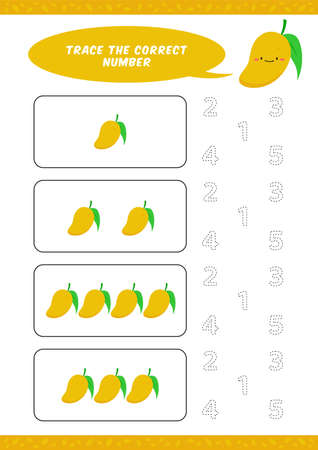preschool counting learn worksheet tracing writing number activity vector template with cute mango cartoon illustration for child kids