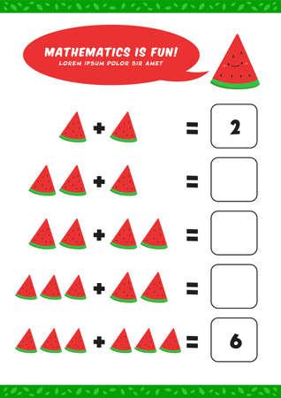 preschool addition mathematics learn worksheet activity template with cute watermelon illustration for child kids Ilustracja