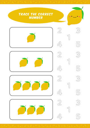 preschool counting learn worksheet tracing writing number activity vector template with cute lemon cartoon illustration for child kids