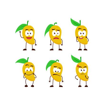 mango fruit character cartoon mascot pose set humanized funny expression stye Ilustracja