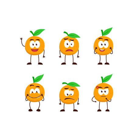 orange fruit character cartoon mascot pose set humanized funny expression stye