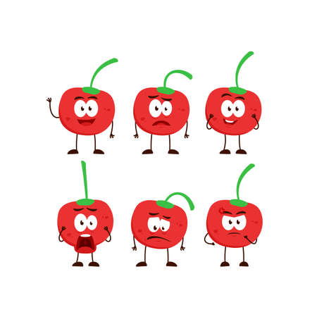 Cherry fruit character cartoon mascot pose set humanized funny expression stye Ilustracja