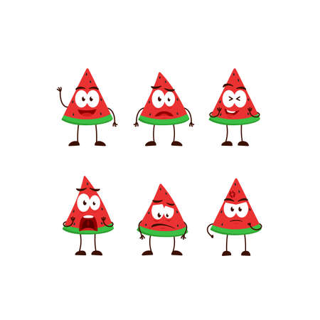 Watermelon fruit character cartoon mascot pose set humanized funny expression stye Ilustracja