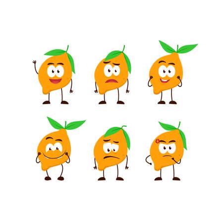 lemon fruit character cartoon mascot pose set humanized funny expression stye Ilustracja