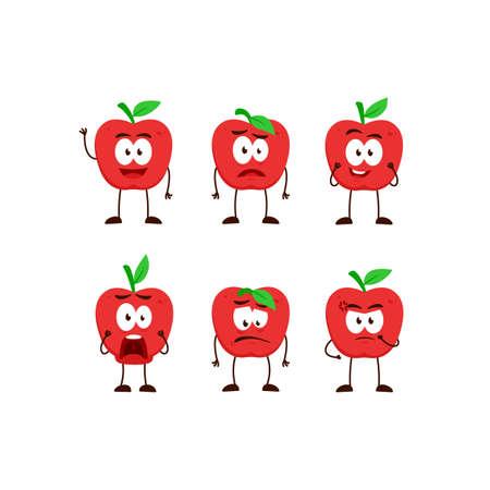 Apple fruit character cartoon mascot pose set humanized funny expression stye