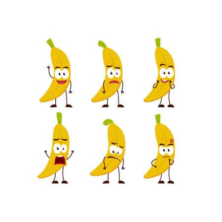Banana fruit character cartoon mascot pose set humanized funny expression stye