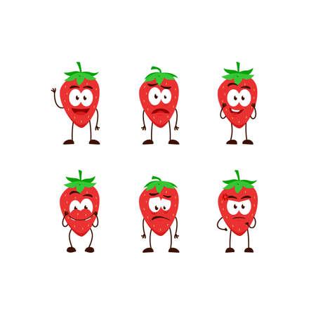 strawberry fruit character cartoon mascot pose set humanized funny expression stye Ilustracja