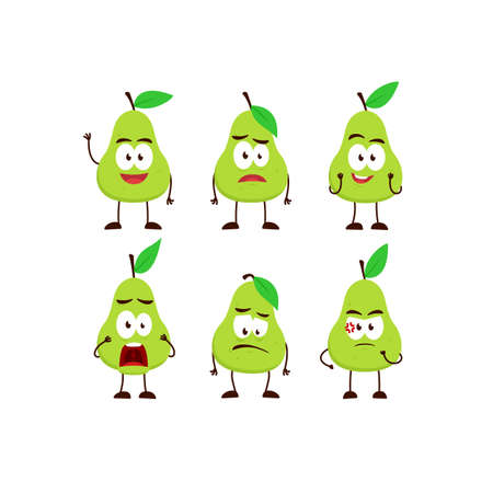Pear avocado fruit character cartoon mascot pose set humanized funny expression stye