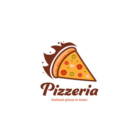 Hot pizza pizzeria logo icon symbol vector for pizza food restaurant with flame fire illustration  イラスト・ベクター素材
