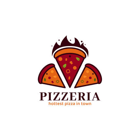 Hot red pizza pizzeria logo icon symbol vector for pizza food restaurant