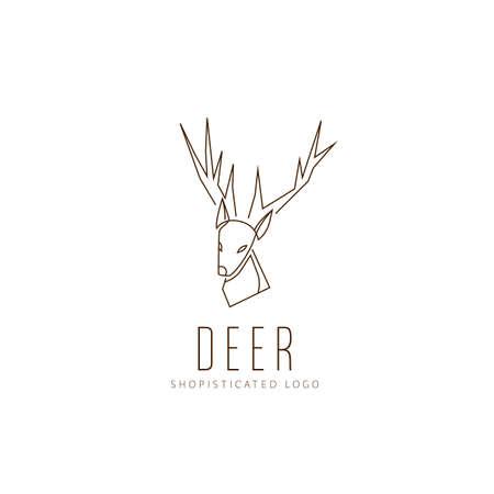 Simple Deer logo in outline monoline minimalist sophisticated icon symbol vector
