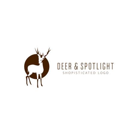 Will deer in spotlight logo icon illustrative in negative glyph icon style illustration logo symbol