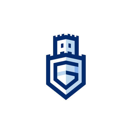 Letter A G on shield logo in castle shape logo gram icon for protection guard and security  イラスト・ベクター素材