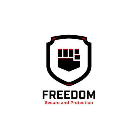 Bold shield secure and protection logo with hand fist of freedom icon badge illustration vector