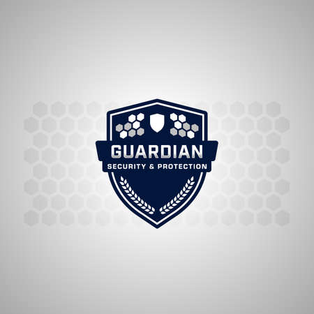 Secure and protection honeycomb safety shield logo icon symbol for security company
