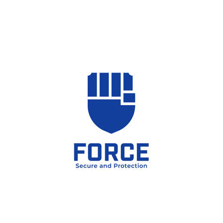 Force shield secure safety and protection guard logo with hand fist icon symbol  イラスト・ベクター素材