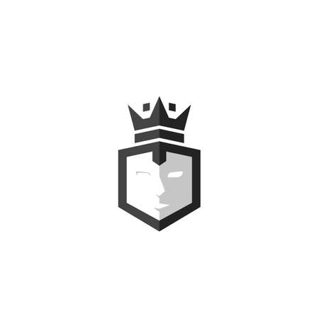 Cube shield with face and king crown logo icon vector symbol illustration