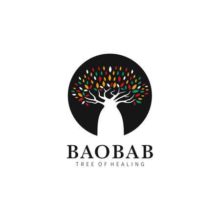 Baobab tree of healing logo icon symbol inside black circle with colorful leaves  イラスト・ベクター素材
