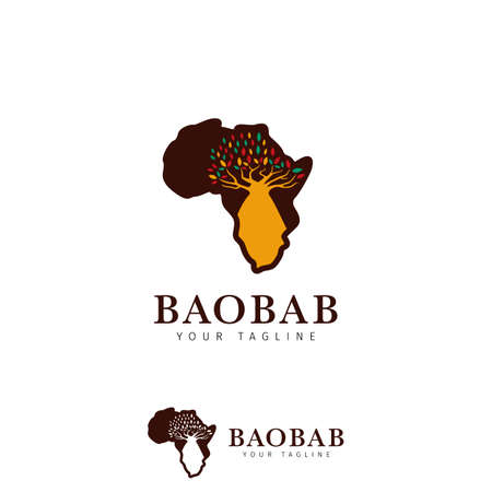 baobab african madagascar tree logo icon inside africa map silhouette illustration