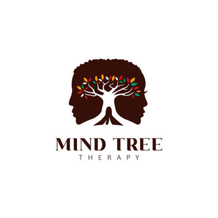 Mind tree therapy psychologist logo icon with male and female silhouette and big tree with colorful leaves