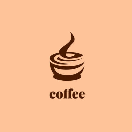 Coffee cup logo in unique silhouette style