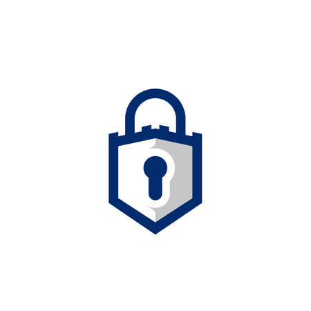 Padlock in shield and castle shape logo icon symbol of safety guard secure and protection