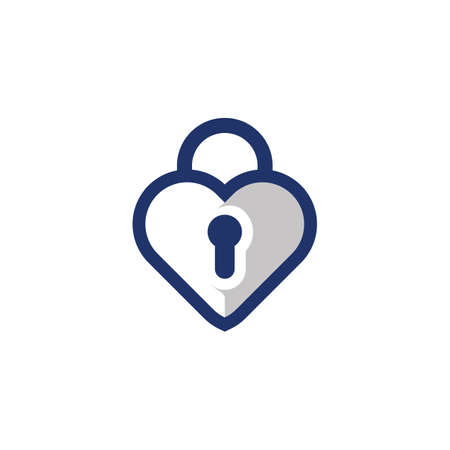Padlock with keyhole in heart love amour logo icon symbol