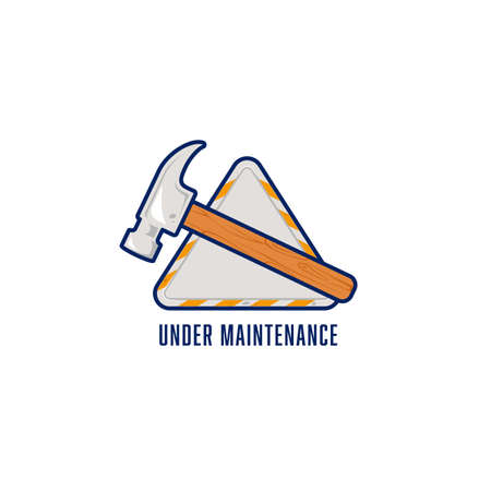 Under maintenance logo icon symbol sign with hammer illustration on triangle emblem badge signage