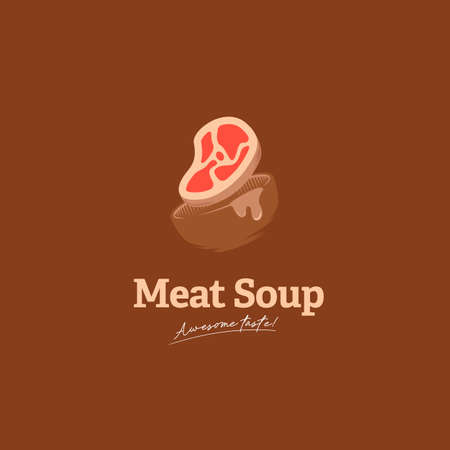 Awesome taste meat soup logo icon with bowl and meat illustration vector delicious overflow soup big portion