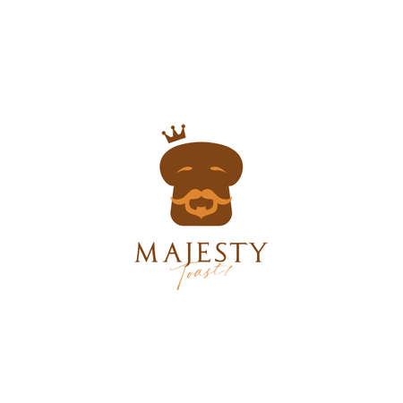 King majesty toast bread bakery logo icon symbol with bearded old wise king bread illustration mascot