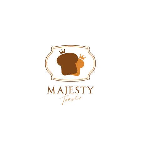 Royal King queen majesty luxury toast bread bakery logo icon symbol in simple elegant premium logo style